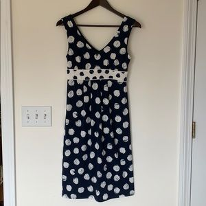 Merona Blue and White Polka Dotted Midi Dress